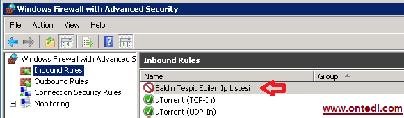 Windows Server 2008'de Ip Engelleme Adım 11