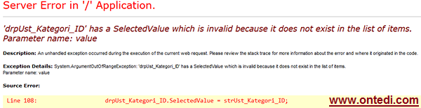 has a SelectedValue which is invalid because it does not exist in the list of items. Parameter name: value